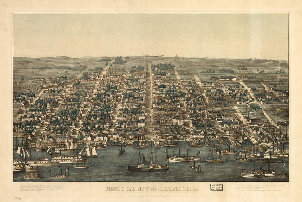 Alexandria, VA from the Potomac River, 1863, Courtesy of the Library of Congress