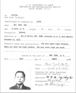 Hong Tow Moy's Certificate of Identity