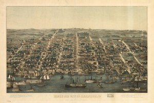 Fig. 1: Charles Magnus, Bird's Eye View of Alexandria, 1863, hand col, 36 x 59 cm., Library of Congress Geography and Map Division,