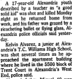 "Fig 1. Excerpt from Kent Jenkins Jr. ""Youth, 17, Is Shot to Death; Father Wounded in Alexandria"" January 31, 1990, B7."