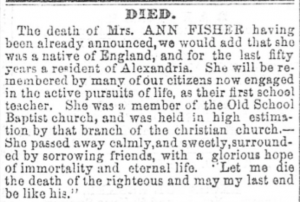 """Died,"" Alexandria Gazette, August 11, 1868, accessed September 23, 2016, Chronicling America: Historic American Newspapers, http://chroniclingamerica.loc.gov/lccn/sn85025007/1868-08-11/ed-1/seq-3/"