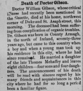 "(Newspaper obituary for Dr. William Gibson. Courtesy of ""Death of Doctor Gibson"" Alexandria Gazette, January 28, 1903. Accessed September 27, 2016, Chronicling America: Historic American Newspapers, Library of Congress.)"