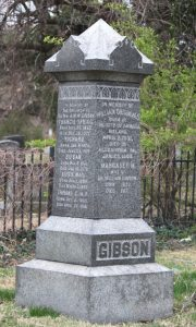 "(The gravestone marking the burial site of William and Margaret Gibson – Courtesy of Find a Grave ""William Gibson,"" accessed September 23, 2016. www.findagrave.com/cgi-bin/fg.cgi?page=gr&Grid=67445373.)"