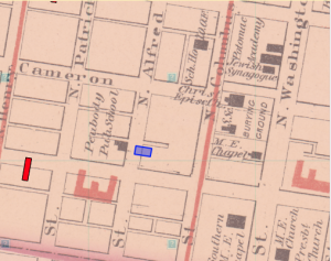 (The blue house marks the location of the Mahaffey house in Alexandria in 1860 – This is where Matilda Gibson lived with her maternal grandparents. Courtesy of Don Debats, Voting Via Voce: Unlocking the Social Logic of Past Politics, University of Virginia, Accessed September 25, 2016, http://sociallogic.iath. virginia.edu/node/14?name=Mahaffey&sex=&race=1&bg=&data_set=alex_people&contains=1.)