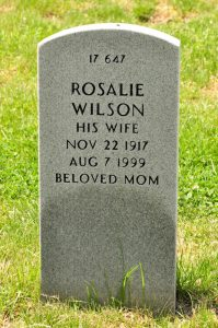 U.S. Veterans Gravesites, ca. 1775-2006, National Cemetery Administration, Quantico National Cemetery, Section 17, Site 647, PFC Rosalie Wilson, US Army, accessed October 11, 2016, http://www.findagrave.com/.