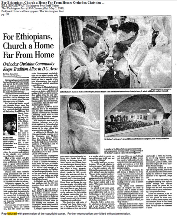 "Bill Broadway, ""For Ethiopians, Church a Home Far from Home: Orthodox Christian Community Keeps Tradition Alive in D.C. Area,"" Washington Post, May 2, 1998, D8."